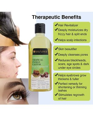 Soulflower Castor Oil -100% Pure Tropical Indian Coldpressed Oil - Boosts Growth for Eyelashes, Eyebrows, Hair 6.77 fl. Oz. Hexane Free with - BONUS portable travel friendly Spray