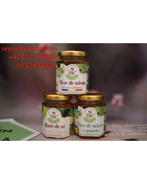 honey in hexagonal glass jars