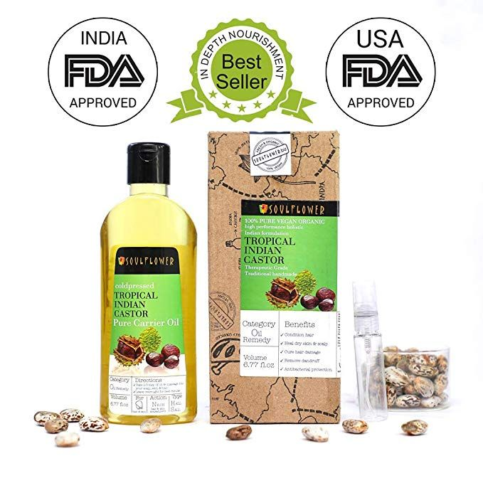 Soulflower Castor Oil -100% Pure Tropical Indian Coldpressed Oil - Boosts  Growth for Eyelashes, Eyebrows, Hair 6 77 fl  Oz  Hexane Free with - BONUS